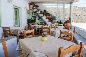 Rooftop patio of Kounaria Tavern at Tinos